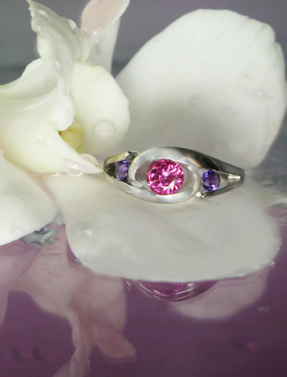 Reserved Pink Sapphire Amethyst Ring  18K White Gold
