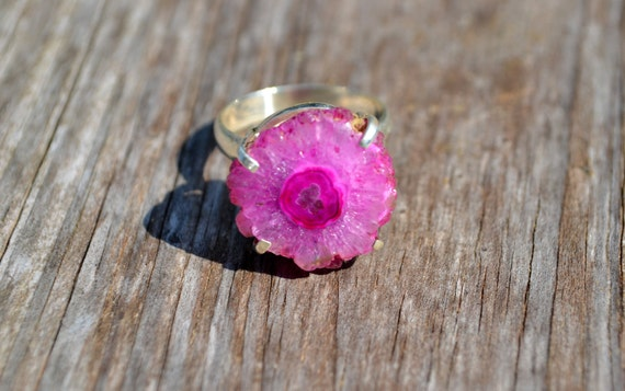 ON SALE Pink Solar Quartz Sterling Silver Ring Size 8