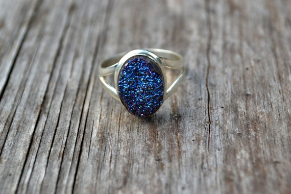 FREE SHIPPING Midnight Druzy Sterling Silver Ring Any Size