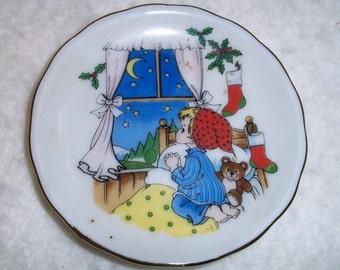 Sweet Little Vintage Christmas Plate Made in Japan