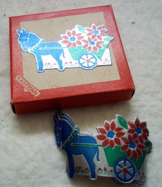 Vintage Eastman Donkey and Flower Cart Gummed Stickers