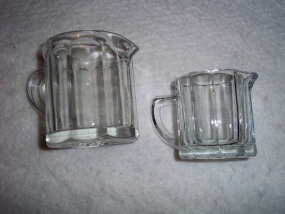 Set of 2 Vintage Glass Pitchers/creamers
