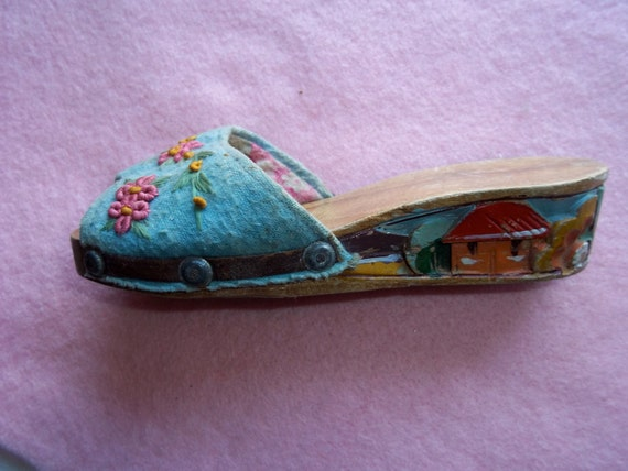 Vintage Single Philippine Wooden Shoe