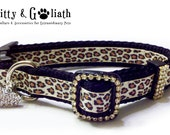 Dog Collar Leopard Rhinestone , Size Small or Medium -- Free Charm