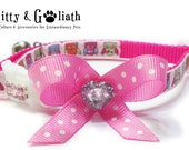 Cat Collar Owls with Pink Rhinestones - Safety Collar