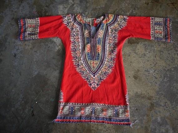 Kaftan mini dress - Vintage 70s African Print