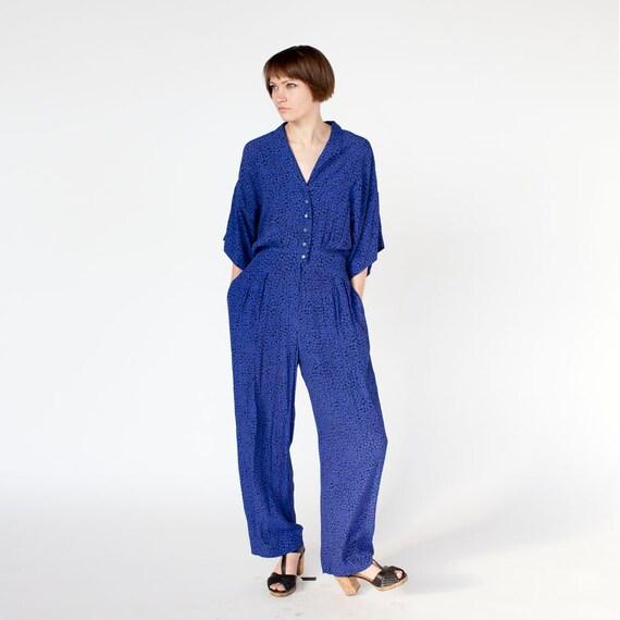 High waisted Blue snake jumpsuit