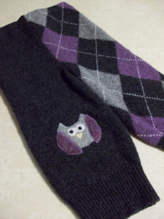 Recycled Wool Sweater Pants Longies Argyle Owl Applique
