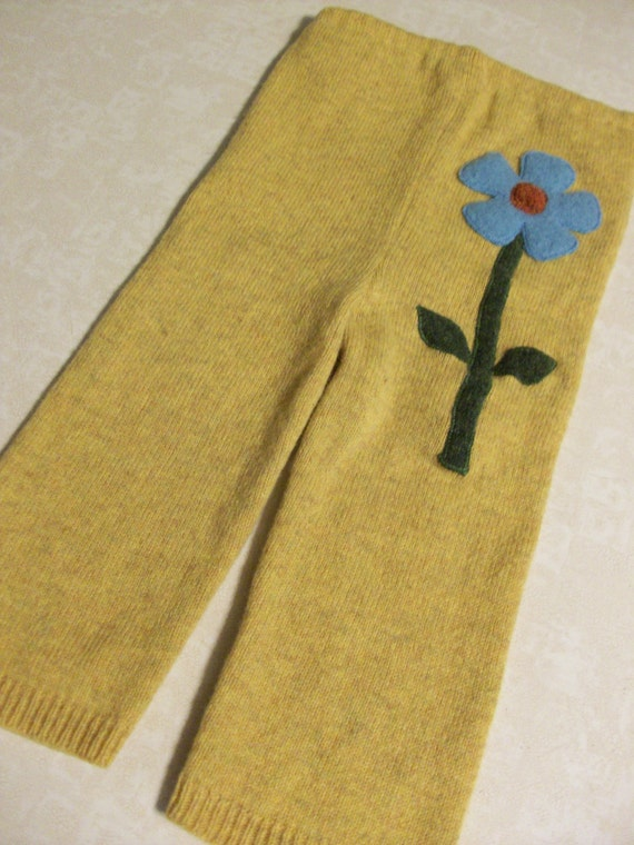 Yellow Recycled Wool Sweater Pants Longies with Flower Applique