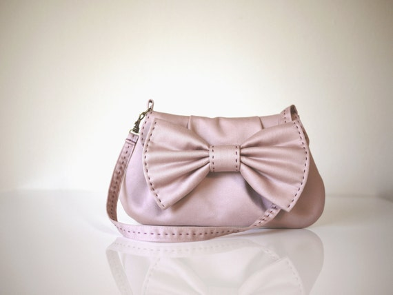 Pink Bow Purse in Two Way Straps- Small Bow Bag Wedding Clutch Wristlet/ Gift for Her