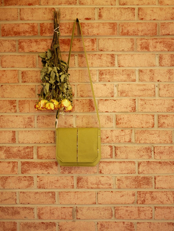 Small Green Canvas Messenger- Travel Cross Body Purse Day Bag