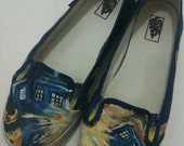 Exploding Tardis Hand-Painted Sneakers