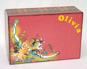 Personalized - decoupaged - childs pencil or crayon box
