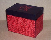 Wooden Recipe Box - Black and Red - Personalized - Keepsake - Wedding Gift - Shower Gift