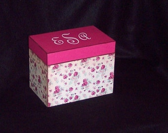 Recipe Box - Wood Recipe Box - Keepsake Box - Pink Roses - Wedding Gift - Shower Gift -  Personalized