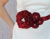 Bridal sash, Wedding Dress Sash, Bridal Belt - Bordeaux Red Flowers, Vintage Pearls