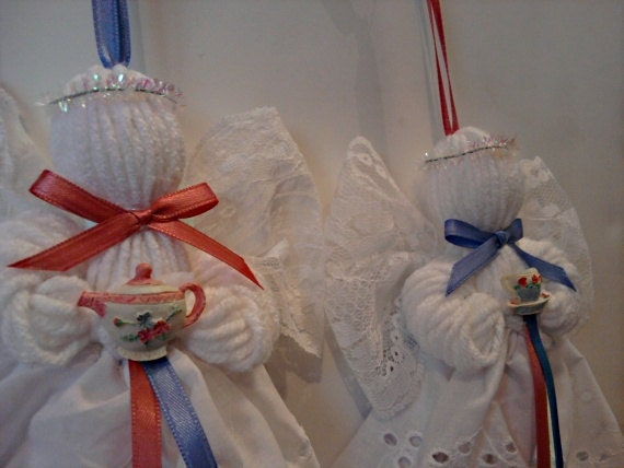 Tea Time, Lace and Yarn Angel Ornaments, Set of 2