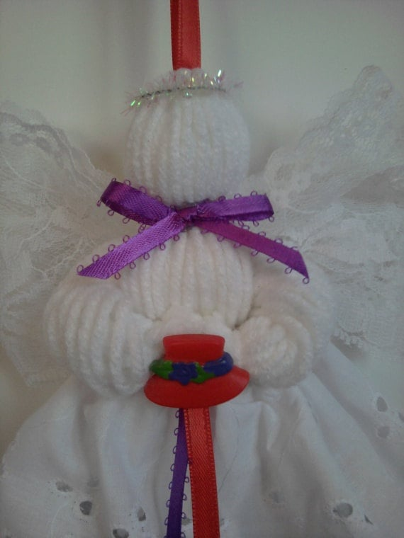lace and yarn angel ornament red hat society by