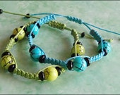Blue & Green Crackle Hemp Bracelet Set
