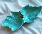 Vintage Mid Century California Pottery by Sylvans of  Pasadena Turquoise Double Leaf Serving Dish