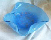 Vintage Murano Barbini Art Glass Style Freeform Tri Fold Light Blue Bowl with Aventurine Gold Copper Flecks 1950s