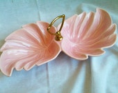 Vintage Mid Century California Pottery by Sylvans of  Pasadena Pink Double Leaf Serving Dish