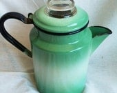 Vintage Sea Foam Green and White Mid Century Mod Enamelware Coffee Pot Percolator with Black Handle and Pyrex Glass