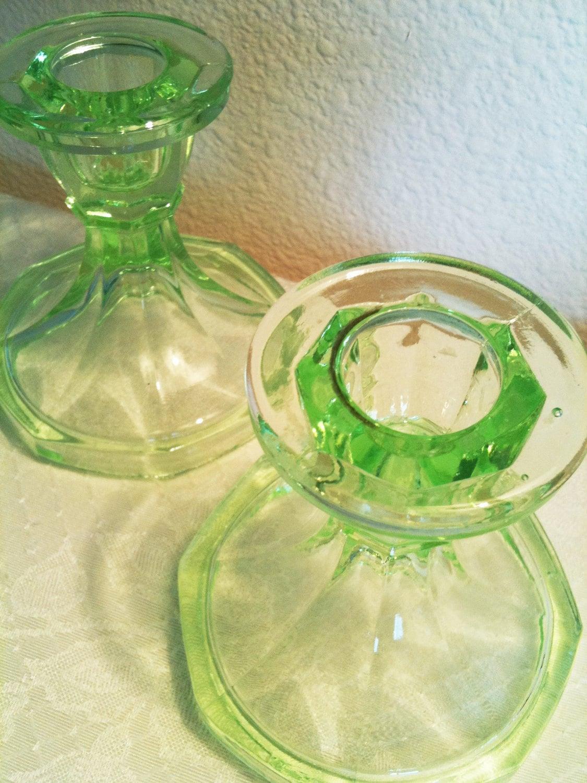 Vintage Antique Depression Vaseline Glass Bright Atomic Green