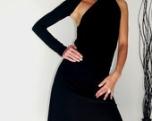 One-Shoulder Black Dress - Free  US Shipping - Donation to UNICEF - Item JM-DRT1200B4