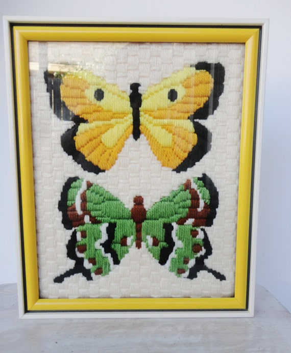 Vintage Embroidered Butterfly Art - 70's
