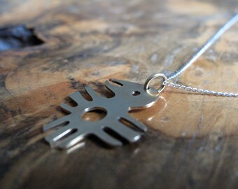 brass bird on sterling silver chain necklace   'Ode to Burque'