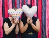 READY TO SHIP: Heart Pillows Rainbow Chevron and Pink Polka Dots
