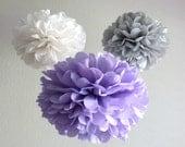 7 Pom Poms - Vintage Violet Tissue Paper Pom-Poms - Lavender, Grey, Vintage White