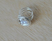 Bird's Nest Ring with wrapped wire and 3 glass pearl beads, women's jewelry
