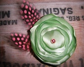 Light Green Flower clip with pink feathering