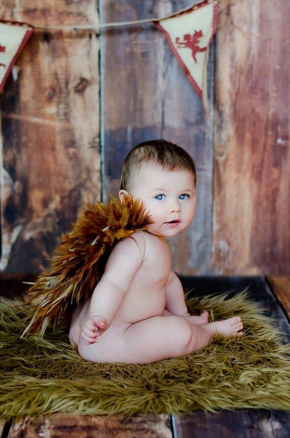 Handmade Tan Feather Wings Photography Prop Baby