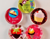 CUPCAKE CANDY MAGNET glass set of five 1 inch round with rare earth neodymium magnet