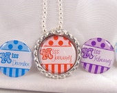 PARTY FAVOR Birthday Month  Bottle Cap NECKLACE with Individual Organza Bags and Silver Ball Chain
