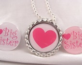 PARTY FAVOR sister Custom Bottle Cap NECKLACE Special Gift  with Individual Organza Bags and Silver Ball Chain