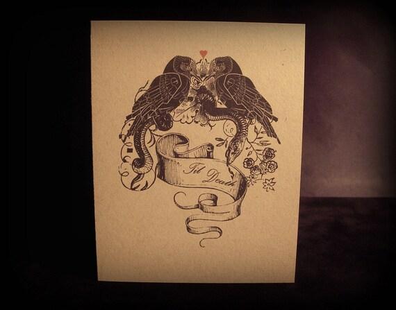 Til Death - Raven Love Birds - Greeting Card