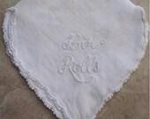 Vintage bun warming linen.  White on White embroidery & crochet.