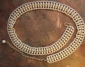 Faux Pearl Belt. Vintage Kitsch.  Retro 80's woven belt with gold tone chain.