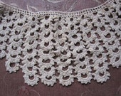 Vintage Hand Crocheted Lace Collar.  beige  taupe  ecru