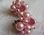 Pink Faux Pearl and Crystal Clip-on Earrings.  Vintage 1950's. Post-Occupied Japan.