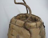 RESERVED FOR DIANE Handwoven indigenous South American tribal bark basket Circa 1970's