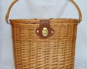 Bicycle Bike Willow Wicker Basket with Lid Cover