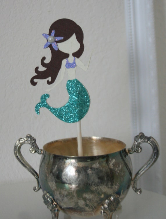 Under the Sea Mermaid Cupcake Toppers  Set of 6