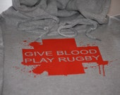 Rugby hoodie give blood play rugby funny hooded sweatshirt sports fleece sweater rugby clothing gift