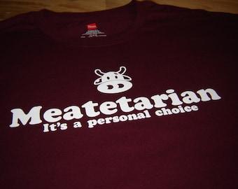 Maroon Meatetarian t shirt meat hamburger steak barbecue king men tshirt beef mens womens kids ladies youth funny gift tee