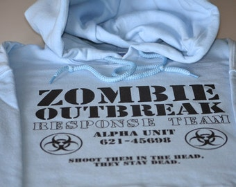 Zombie Hoodie Outbreak Response Team Alpha Unit for men women teens and kids zombie sweatshirt size Large or choice of S,M,L,Xl,2Xl,3Xl